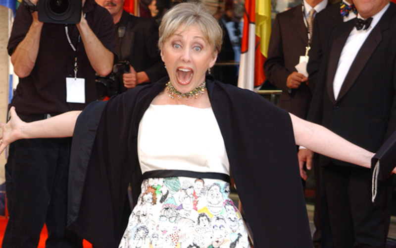 Lynn Johnston at Canada's Walk of Fame, wearing her hand-painted funny faces dress.