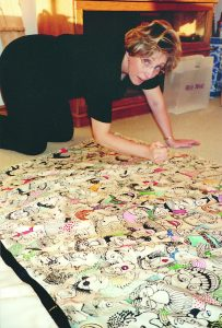 Lynn Johnston working on her Walk of Fame dress.