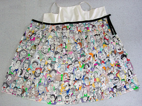 Lynn Johnston's Walk of Fame Dress, handpainted with funny faces.